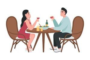 Couple on romantic date semi flat color vector characters