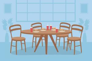 Table with fast food flat color vector illustration