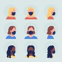 Different women in mask semi flat color vector character avatar set