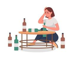 Girl with alcoholism semi flat color vector character