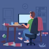 Gamer in messy room flat color vector illustration