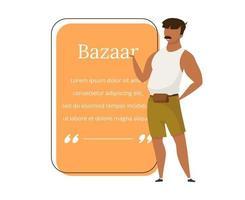 Bazaar seller flat color vector character quote