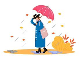 mujer en impermeable color plano vector personaje sin rostro