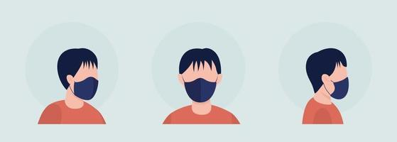 Young boy semi flat color vector character avatar with mask set