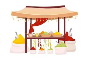 Indian bazaar tent with spices and herbs cartoon vector illustration