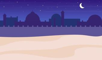 Desert town silhouette night scenery flat color vector background