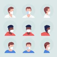 No-pleat white mask semi flat color vector character avatar set