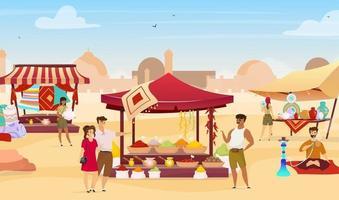 Arabic bazaar flat color vector illustration