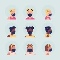 Kids with medical masks semi flat color vector character avatar set