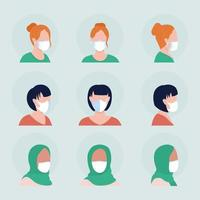 Women with white masks semi flat color vector character avatar set