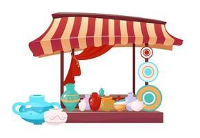 Bazaar awning with handmade ceramics cartoon vector illustration