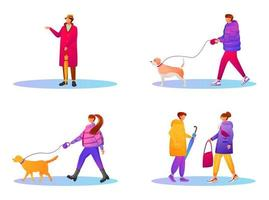 Walking people in gradient coats flat color faceless characters set vector