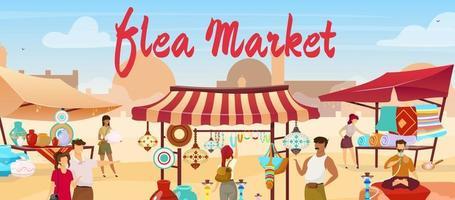Flea market flat vector illustration