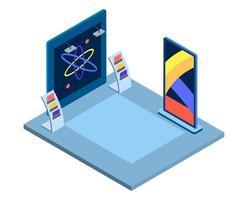 ilustración vectorial isométrica del museo científico vector