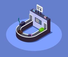 Airport luggage belt isometric color vector illustration