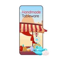 Handmade tableware cartoon smartphone vector app screen