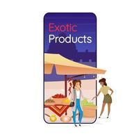 Exotic products cartoon smartphone vector app screen