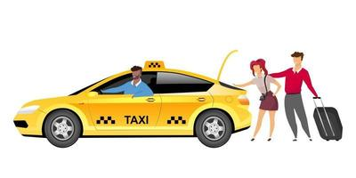 Taxi driver with clients flat color vector faceless characters