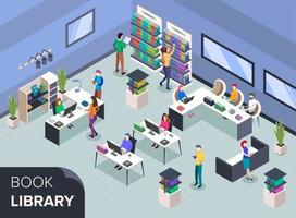 People at modern book library isometric color vector illustration