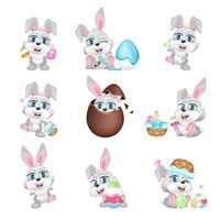Cute Easter grey hares kawaii cartoon vector characters set