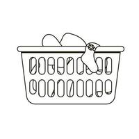 Thin line icon of loundry basket with dirty clothes. Black and white vector
