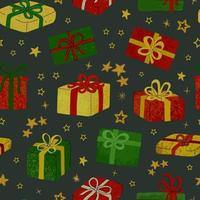 Vector seamless pattern with hand draw illustration of christmas gifts