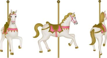 isolated carousel horses. top, side and back view vector