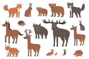 Cartoon fox wolf bear cub elk deer hedgehog hare duck lynx horse boar vector