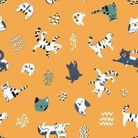 Cute cat kitten seamless pattern on yellow background vector