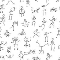 vector black line seamless pattern of stick people in different poses