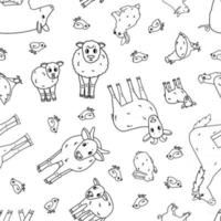 Black white Seamless pattern of doodle vector cartoon farm animals