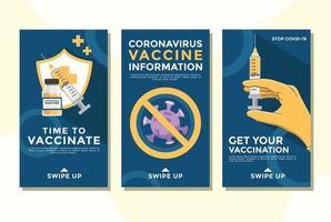 Editable social media instagram story template. vaccine of covid 19 vector
