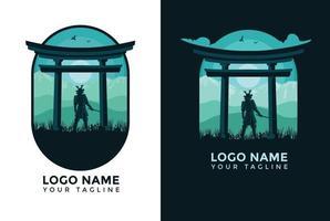 flat design landscape samura template logo in china vector