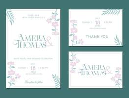 invitation card, thank you, save the date, rsvp, floral design vector