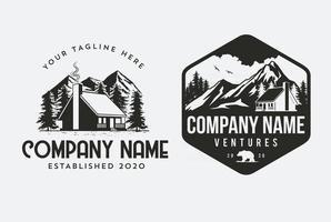 Outdoor Cabin logo template for house rental companies design vector