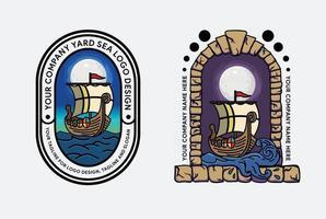 vector logo del barco vikingo en el mar, mar del norte