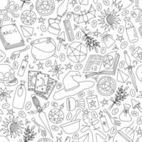 WHITE SEAMLESS BACKGROUND WITH SILHOUETTES OF OBJECTS FOR MAGIC vector