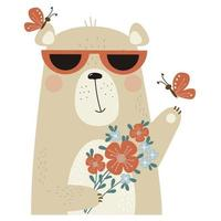 cute bear in sunglasses with a bouquet of flowers and butterflies vector