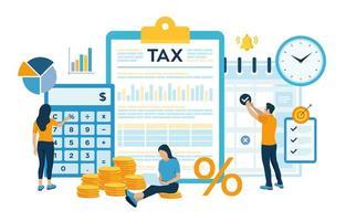 Concept tax payment. Data analysis, paperwork, vector