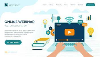 Webinar. Internet conference. Web based seminar. Distance Learning. vector
