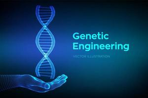 DNA sequence in hand. Wireframe DNA molecules structure mesh. vector