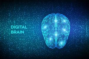 cerebro. Cerebro digital en código binario digital de matriz de transmisión vector