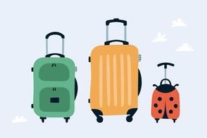 Travel bags. Family travel concept. Hand drawn  vector illustration