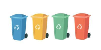 contenedores para reciclaje clasificación de residuos. latas de basura de colores vector
