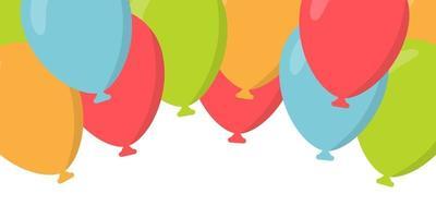 Flying balloons header background. Design element of birthday vector