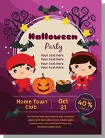halloween deep flat poster with kid devil costume vector