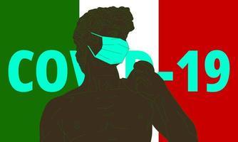Italia crisis del coronavirus. illustraion vectorial de david en máscara médica. vector