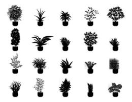 Plants in a pot silhouette collection vector