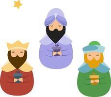 tres reyes magos de navidad con regalos vector