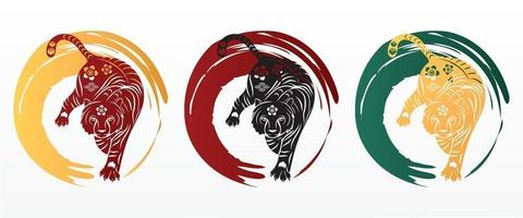 Happy Chinese new year 2022 year of the tiger paper cut. vector